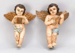 Paar musizierende Engel, 1. H. 20. Jh., Lindenholzschnitzereien mit polychromer Fassung.