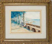 M. Orelli, ital. Künstler 1. H. 20. Jh., junges Paar unter Kolonnaden mit Ausblick auf den