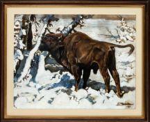 Unidentifizierter Maler um 1930, Wisent auf einer verschneiten Waldlichtung, Mischtechnik