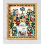 Orthodoxe Hinterglasmalerei, Russland 20. Jh., zentrales Dreifaltigkeitsmotiv umgeben von