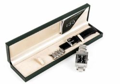 Gucci Quarz Medium, Mod. 7700M, Stahl m. Stahlband und Original Lederband schwarz, mit