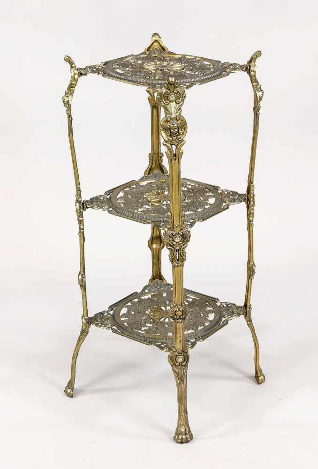 Beistelltischchen/Pflanzentischchen, 20. Jh., Metallguss, bronziert. 3 ornamental