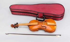 Barock-Geige nach dem Modell von Nicolo Amati aus dem Jahre 1649, Etikett (blaues Papier):