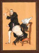 Erotik -- Konvolut von drei Kreidezeichnungen der 1920er Jahre mit pornografischen Szenen,