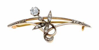 Altschliff-Diamant-Brosche GG/WG 585/000 ungest., gepr., um 1900 mit Altschliff-Diamanten,
