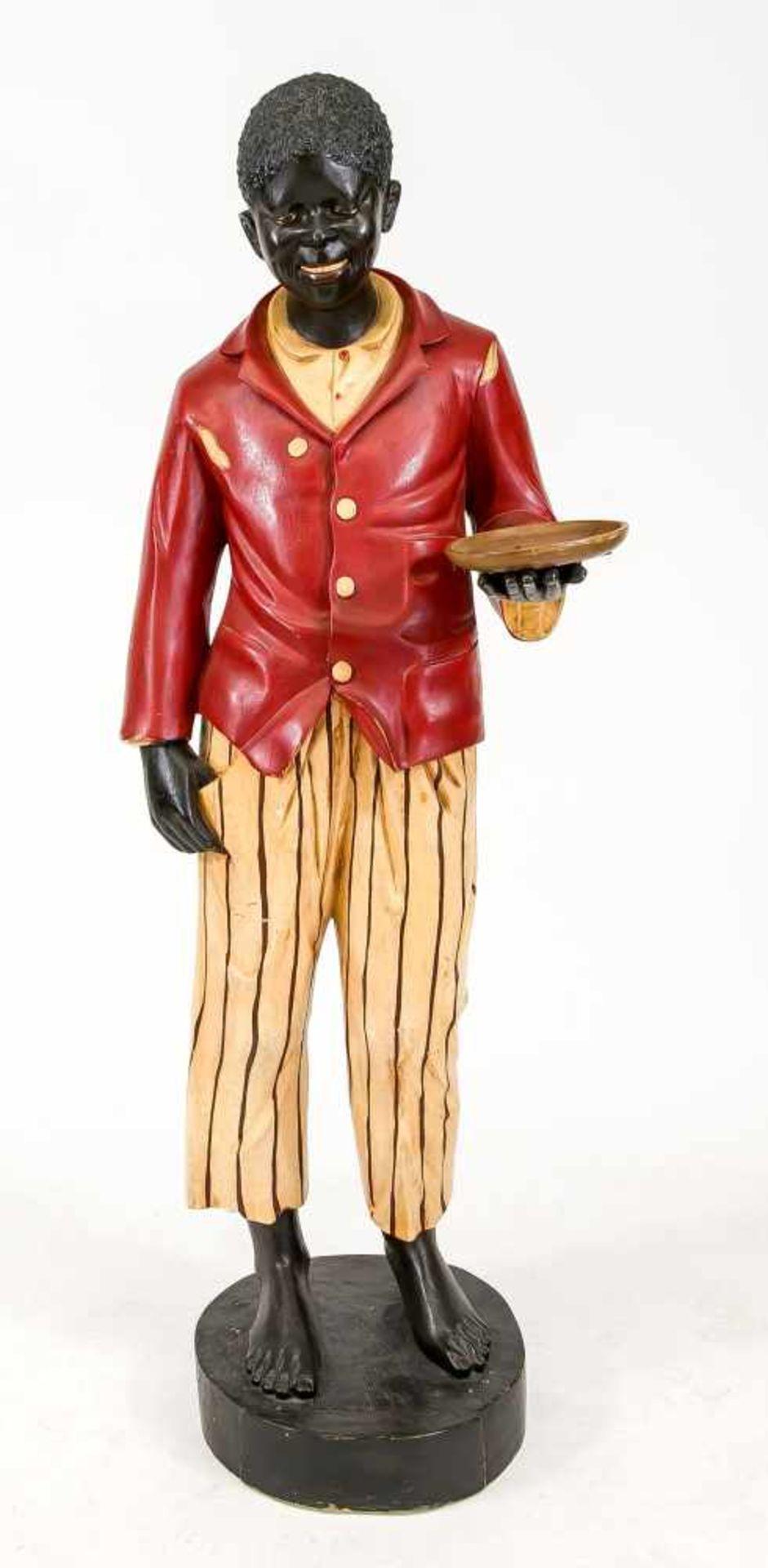 Stiller Diener/Butler, 1. H. 20. Jh., polychrom staffierte Holzfigur auf rundem Postament.