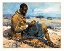 Arabischer Maler 1. H. 20. Jh., rastender Afrikaner in französischer Uniform, Aquarell auf