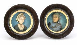 Paar Wachsporträts (Bauernpaar), 19. Jh. In runden, ebonisierten, verglasten Holzrahmen.