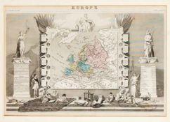 Zwei historische Karten des 19. Jh., Europakarte als teilkol. Stahlstich aus: Levasseur