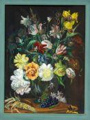 R. Landeau, 20. Jh., Blumenstillleben, Gouache auf Karton, u. re. sign., 47 x 34 cm,