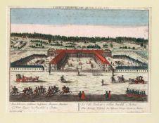 """Zwei Guckkastenblätter mit Berliner Ansichten um 1780, """"Das königliche Hospital der lahmen"""