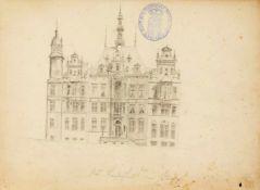 Skizzenbuch eines Darmstädter Zeichners um 1900, ca. 40 Seiten mit Feder- und