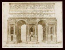 """Zwei Stiche aus dem """"Speculum Romanae Magnificentiae"""" von Lafreri: Ansicht der Porta"""