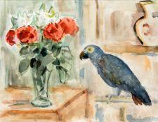 Rolf Diener (1906-1988), in Hamburg tätiger Maler, Stillleben mit Papagei und