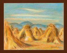 Elfriede Buchheim (1900-?), Künstlerin aus Zittau, Landschaft mit Heuhocken, Pastellkreide