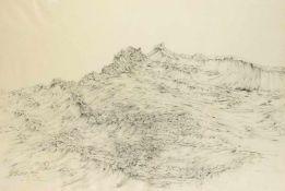 Anonymer Künstler des 20. Jh., Wellen, Bleistiftzeichnung auf Schoellershammer-Papier mit