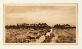 Hans am Ende (1864-1918), Sommerabend am Moorkanal, Radierung in Braun von 1895, unsign.,