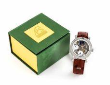 PortaS, Herrenuhr GMT, Handaufzug, Mod. PS01-9730, Stahl Gehäuse poliert und satiniert,