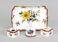 Schreibtisch-Set, 4-tlg., Meissen, 18. Jh., 1. W., polychrome Blumenmalerei, purpur