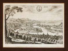 Zwei Ansichten von Lüttich, 17. Jh., eine Planansicht, sowie ein Panorama, Radierungen,