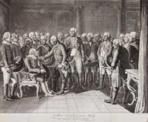 """Daniel Nikolaus Chodowiecki (1726-1801), """"Ziehten sitzend vor seinem König"""", Kupferstich"""
