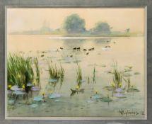 Willi Eplinius (1884-1966), dt. Filmarchitekt und Theatermaler. Seeufer mit Enten und