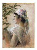 K. Herrmann, Künstler um 1900, Mädchen den Weihnachtsbaum schmückend, Pastellkreide auf