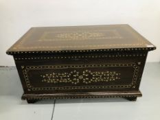 VINTAGE MAHOGANY BLANKET BOX WITH INLAID DETAIL