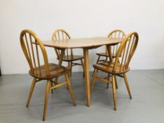ERCOL DROP FLAP DINING TABLE AND FOUR ERCOL DINING CHAIRS