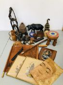 BOX OF MIXED TREEN ITEMS TO INCLUDE LEATHER BOUND WALKING STICK,