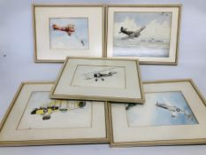 QUANTITY OF AVIATION RELATED PICTURES TO INCLUDE 2 X FRAMED WATERCOLOUR BE 2'S BEARING SIGNATURE