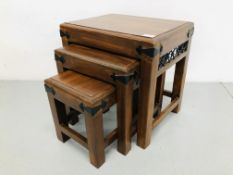 NEST OF 3 HARDWOOD COFFEE TABLES WITH METAL CRAFT DETAIL + MATCHING 2 DRAWER COFFEE TABLE