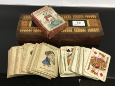 A VINTAGE WOODEN CRIBBAGE BOX ALONG WITH