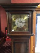 OAK LONG CASE CLOCK. THE BRASS AND SILV