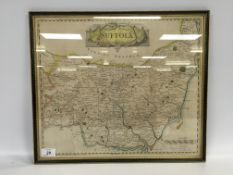 "FRAMED HAND COLOURED MAP ""SUFFOLK"" BY RO"