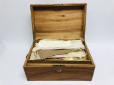 A CAMPHOR WOOD BOX, ALONG WITH CONTENTS