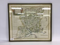"FRAMED HAND COLOURED MAP ""HAMPSHIRE"" BY"
