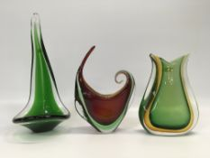 THREE PIECES OF GREEN ART GLASS TO INCLU