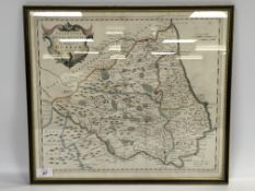 "FRAMED HAND COLOURED MAP ""THE BIFHOPRICK"