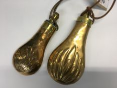 TWO C19TH COPPER AND BRASS SHOT FLASKS