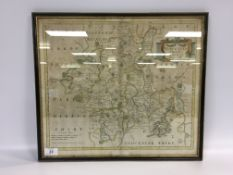 "FRAMED HAND COLOURED MAP ""WORCESTERSHIRE"