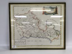 "FRAMED HAND COLOURED MAP ""BARK SHIRE"" BY"