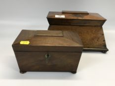 TWO C19TH SARCOPHAGUS SHAPED WOODEN TEA