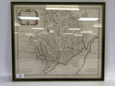 "FRAMED HAND COLOURED MAP ""THE COUNTY OF"