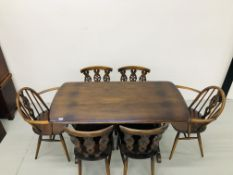 AN ERCOL DINING TABLE WITH CROSS STRETCHER COMPLETE WITH 4 DINING CHAIRS & 2 CARVERS (138cm X 71cm)