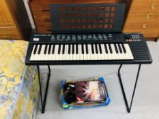 YAMAHA PSR-75 ELECTRIC KEYBOARD WITH STAND & POWER SUPPLY + VARIOUS KEYBOARD MAGAZINES/MUSIC - SOLD