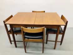 RETRO TEAK STYLE EXTENDING DINING TABLE TOGETHER WITH A SET OF 4 MATCHING CHAIRS WITH BLACK FAUX