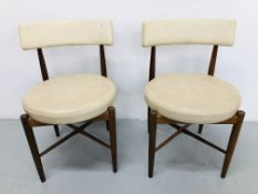 PAIR OF RETRO G-PLAN CHAIRS WITH CIRCULAR FAUX LEATHER SEAT PADS & BACK REST