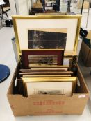 BOX OF VARIOUS FRAMED LOCAL PRINTS & PHOTOS TO INCLUDE 3 GILT FRAMED OILS BEARING SIGNATURE M