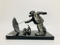 STUDIO METAL WORK FIGURE OF A MAN & DOG PLAYING WITH AN UMBRELLA LIMITED EDITION 174/195 NO VISIBLE